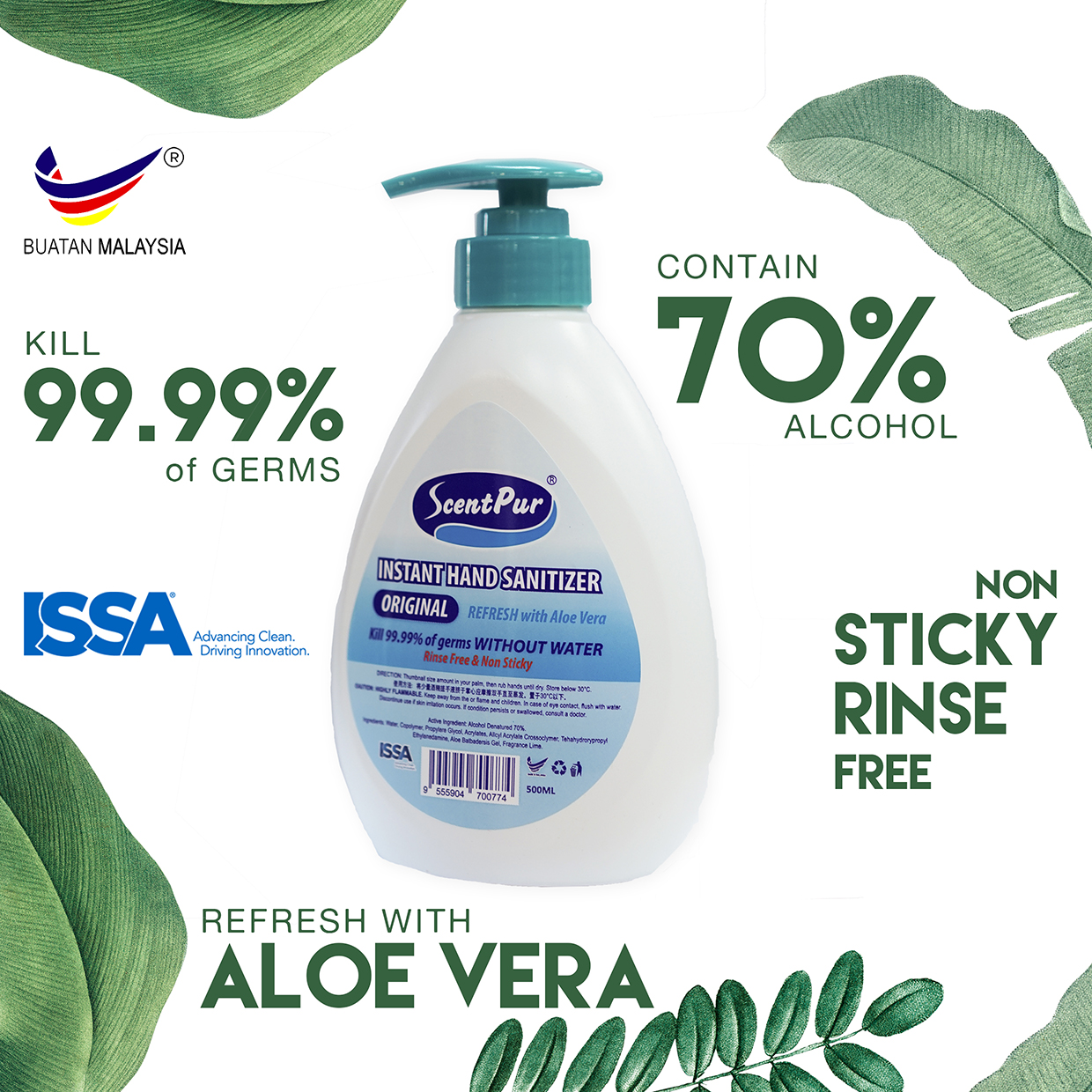 Buy Scent Pur Instant Hand Sanitizer Anti Bacterial 500ml with Aloe Vera- Kill 99.99% Of Germs   eRomman
