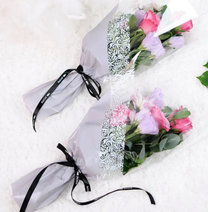 50pcs Plastic Flower Packaging Bags Single Rose Flowers Wrapping Paper