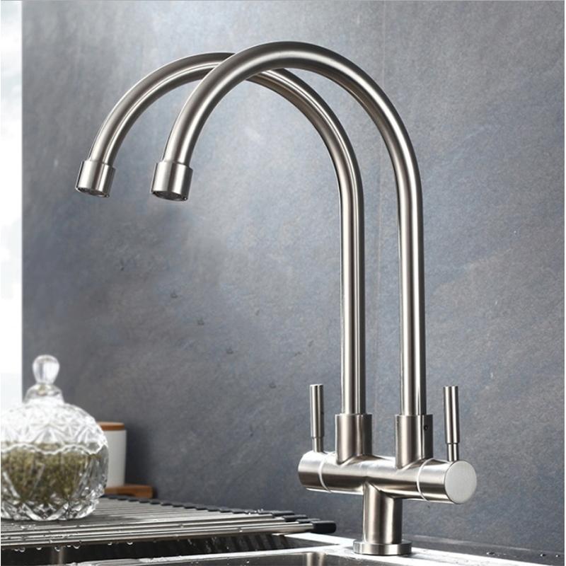 Buy Bathroom Sink Faucet 360 Rotating Double Faucet Eromman
